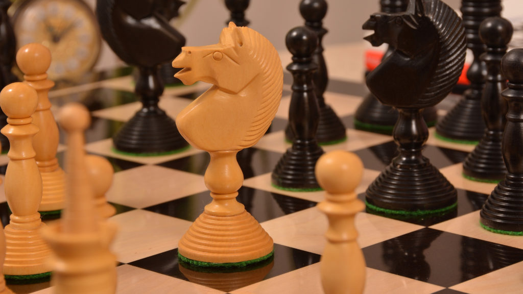 """4.4/"""" Dragon Luxury Staunton Chess Pieces Only Set Triple Weighted-Bud Rose Wood"""
